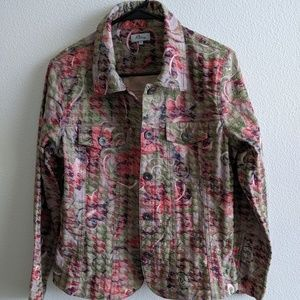 Analogy Woman's  Floral Jacket Size Large